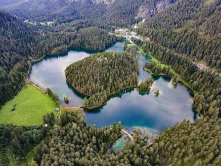 Austria, Tyrol, aerial view of lake Fernsteinsee - YRF00268