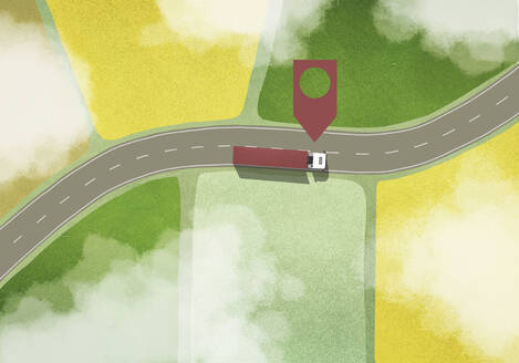 Location marker above commercial truck driving among rural fields - FSIF05557