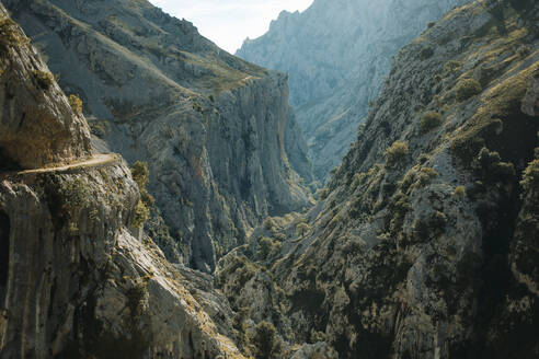 Scenic view of mountain range at Cares Trail in Picos De Europe National Park, Asturias, Spain - DMGF00466