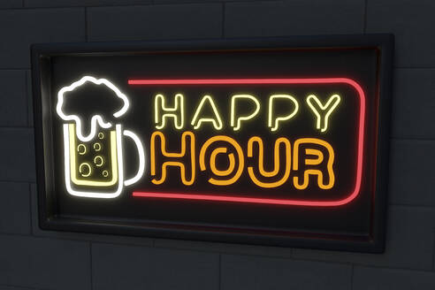 Illuminated beer glass with happy hour text on black wall - NMCF00013