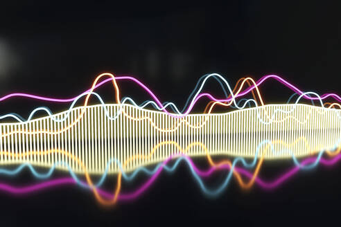 Illuminated colorful frequency pattern against black background - NMCF00022