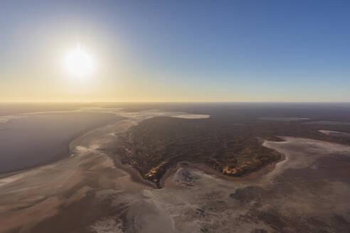 Australia, Northern Territory, Aerial view of Lake Amadeus at sunset - FOF12082