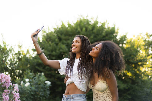 Fashionable female friends taking selfie by tree during summer - AKLF00071