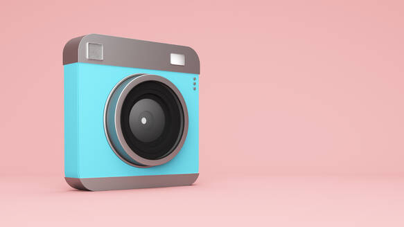 Three dimensional render of old-fashioned camera standing against pink background - JPSF00040