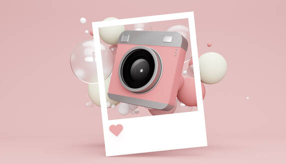 Three dimensional render of picture of old-fashionedcamera floating with various bubbles against pink background - JPSF00043
