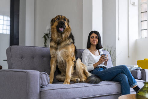 Smiling woman with coffee cup looking at dog while sitting on sofa in living room - GIOF11318