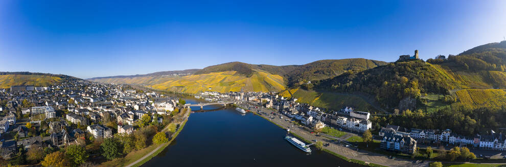 Germany, Rhineland-Palatinate, Bernkastel-Kues, Helicopter panorama of Moselle and surrounding town in summer - AMF09120