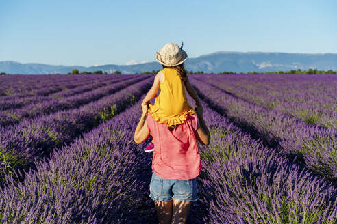 Mother piggybacking little daughter in vast summer lavender field - GEMF04706