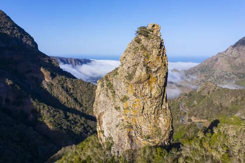 Drone view of Espigon de Ibosa rock formation in Garajonay National Park - SIEF10116