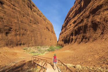 Australien, Ozeanien, Northern Territory, Zentralaustralische Wüste, Uluṟu Kata Tjuṯa Nationalpark, Kata Tjuṯa (die Olgas), Touristin (w) auf einer Wanderung zum Walpa Canyon - FOF12118