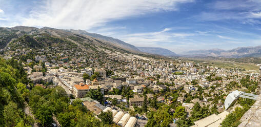 Panoramic view of old town against blue sky at Gjirokaster, Albania - MAMF01630