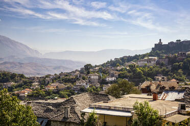 View of town against sky in Gjirokaster, Albania - MAMF01633