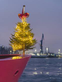 Germany, Hamburg, Landungsbrucken, Christmas Tree on ferry - KEBF01791