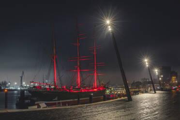 Deutschland, Hamburg, Landungsbrücken, Museumsschiff mit Weihnachtsbaum. - KEBF01800