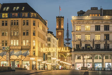 Germany, Hamburg, City centre decorated and illuminated at Christmas time - KEBF01803
