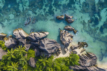 Drone view of granite rock formations of Anse Source DArgent beach in summer - RUEF03204
