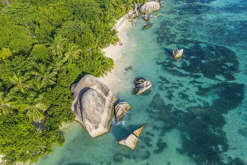 Drone view of Anse Source DArgent beach in summer - RUEF03207