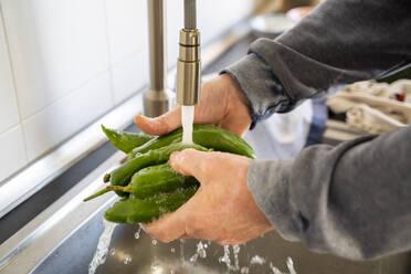 Senior man cooking at home in kitchen. Senior, mature, cook, healthy, healthy food, cook, meal prep, veggies, vegetarian, vegan, vegetables, healthy, active senior, acitve lifestyle - AFVF08240