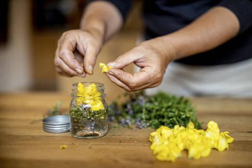 Woman putting herbs in jar at home - DAWF01826
